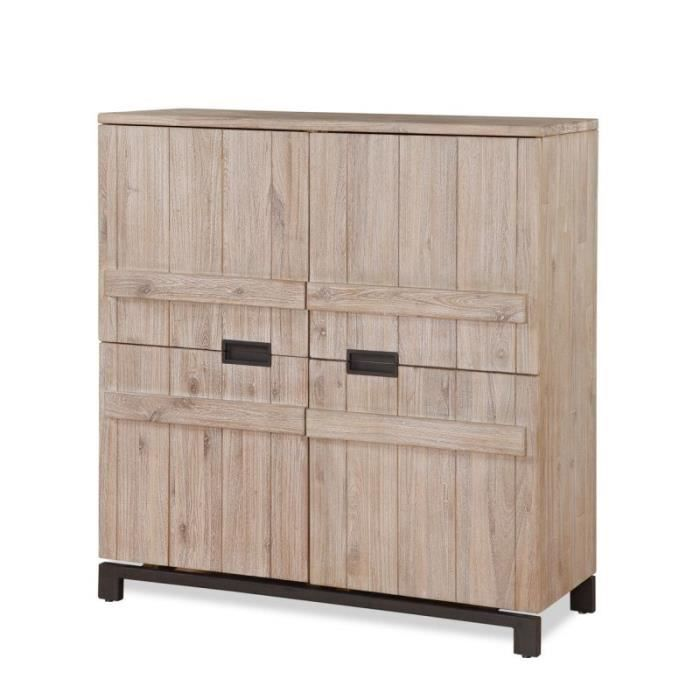texas armoirette 4 portes bois massif acacia achat vente vitrine argentier texas. Black Bedroom Furniture Sets. Home Design Ideas