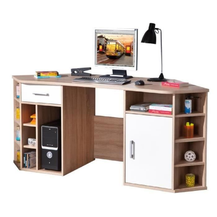 bureau d 39 angle avec rangement coloris sonoma ch ne et blanc achat vente bureau bureau d. Black Bedroom Furniture Sets. Home Design Ideas