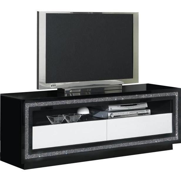 Meuble Tv Noir Et Blanc Laque Design Avec Strass Achat