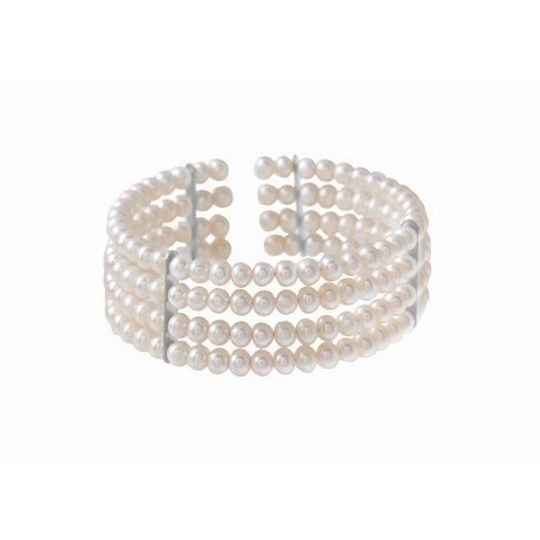 BRACELET - GOURMETTE Bracelet 4 rangs Perles de culture et Or blanc