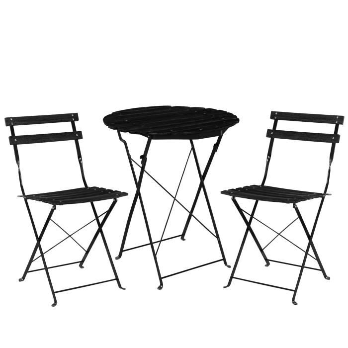 kit de bistro set table 2 chaise meuble du jardin balcon noir achat vente. Black Bedroom Furniture Sets. Home Design Ideas