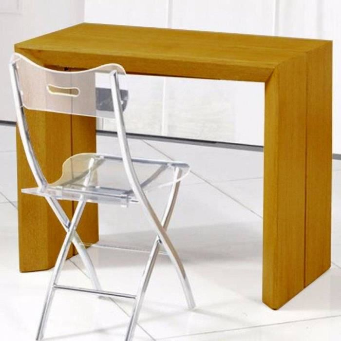 Console extensible en table repas extenso deluxe bois for Table 6 personnes extensible