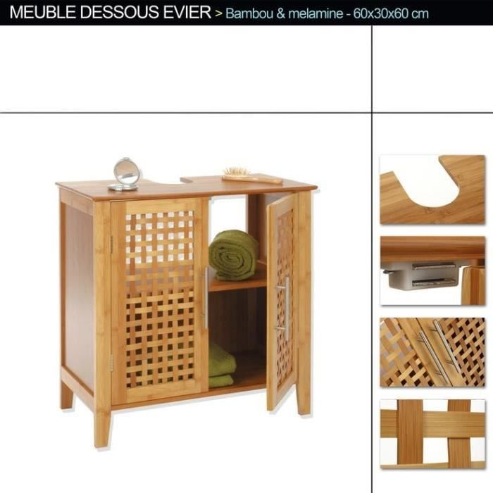sia meuble sous lavabo bambou achat vente meuble. Black Bedroom Furniture Sets. Home Design Ideas