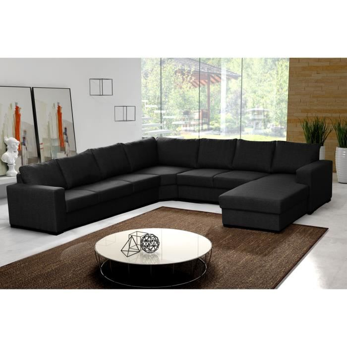 canap d 39 angle en u oara 7 8 places tissu noir design achat vente canap sofa divan. Black Bedroom Furniture Sets. Home Design Ideas