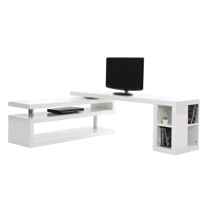 Miliboo meuble tv design laqu blanc pivotant achat for Photo meuble tv design