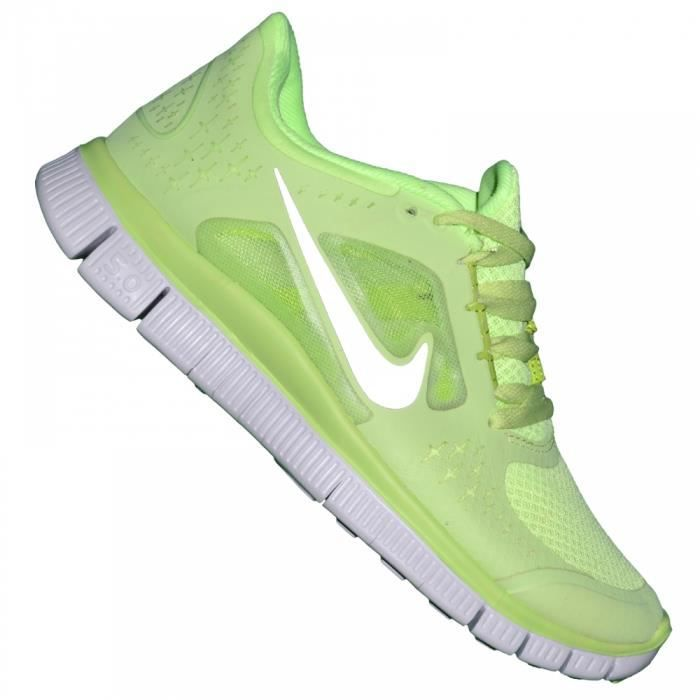 nike basket running femme free run vert fluo argent vert achat vente basket. Black Bedroom Furniture Sets. Home Design Ideas