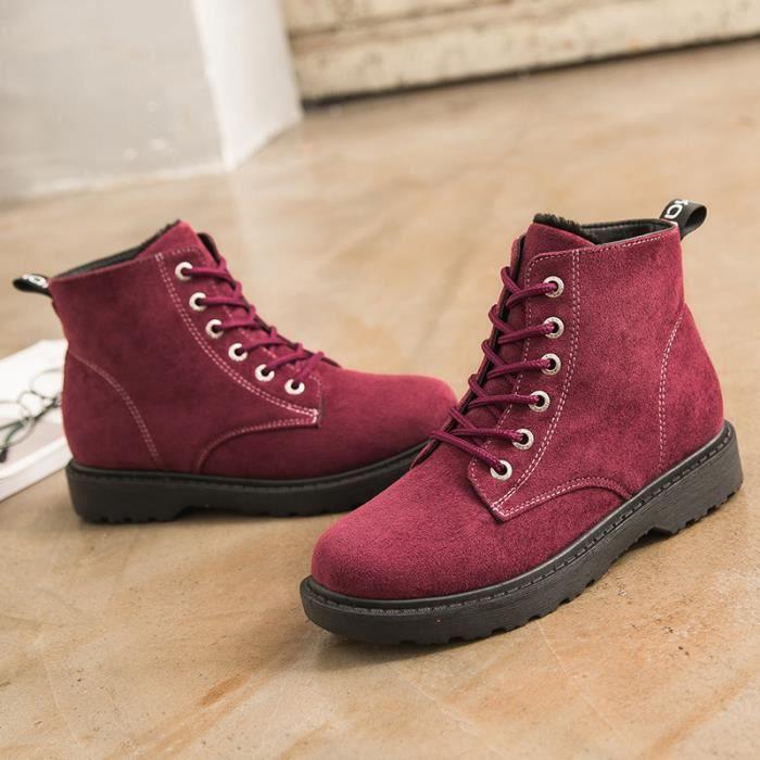 Chaussures de type neige la femme de masse Bottes nouvelles de de bottes bottines chaud L'hiver rétro Martin fourrées de l'air QCoeWxdBr