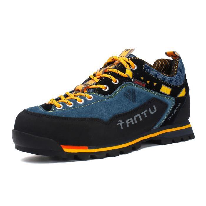 TANTU Homme Cuir Chaussures de Randonnee Escalade Bottes de Montagne Étanche Antidérapant Sport Chaussures basses Bleu