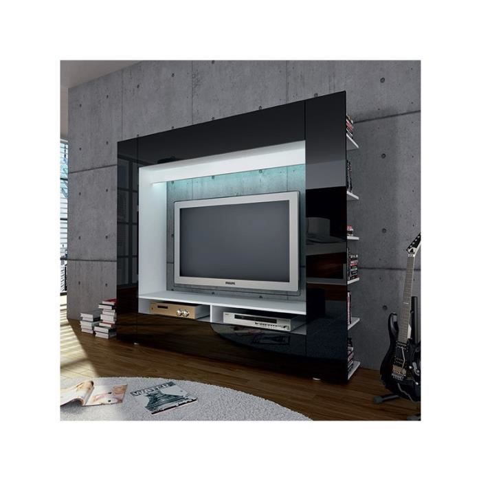 meuble tv laqu noir mural design achat vente meuble tv meuble tv laqu noir mural cdiscount. Black Bedroom Furniture Sets. Home Design Ideas