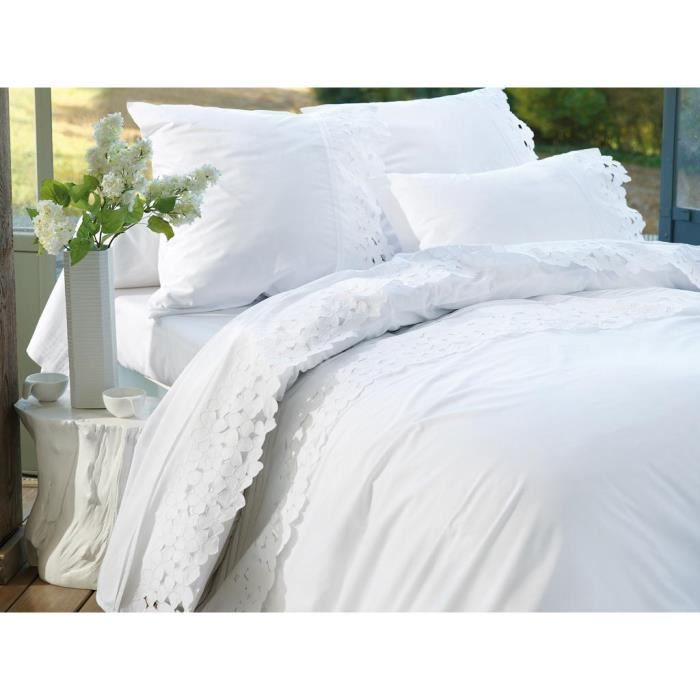 housse de couette brod e en coton percale 240x260 cm valentina achat vente housse de couette. Black Bedroom Furniture Sets. Home Design Ideas