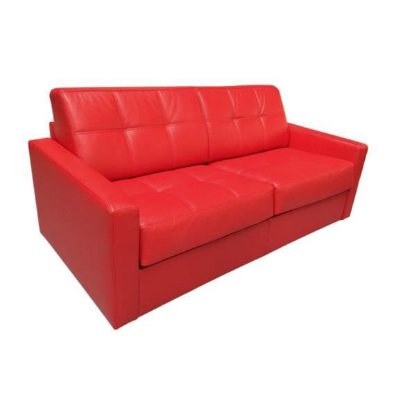 canap convertible tetris vrai cuir rouge 140x190 achat vente canap sofa divan cuir. Black Bedroom Furniture Sets. Home Design Ideas