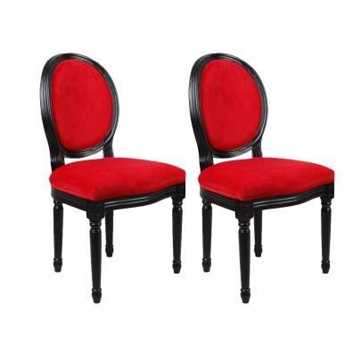 Lot de 2 chaises louis xvi velours rouge achat vente for Chaise salle a manger louis xvi