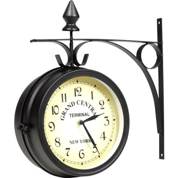 horloge de gare retro double face new york achat vente horloge cdiscount. Black Bedroom Furniture Sets. Home Design Ideas