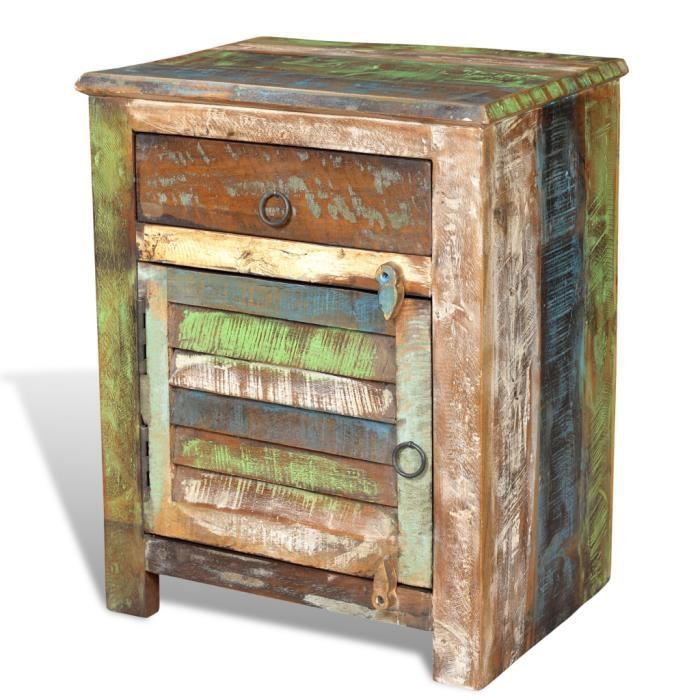 Table De Chevet Vintage Multicolore 1 Tiroir Achat