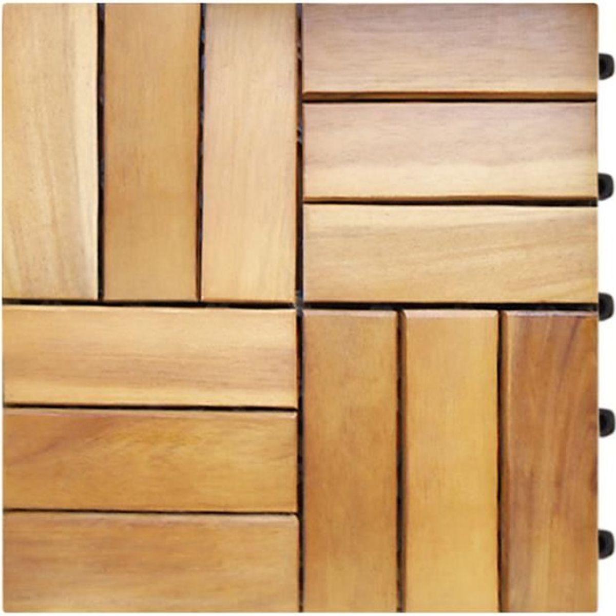 DALLAGE 11x Dalles de terrasse en bois pour 1m² en bois d'