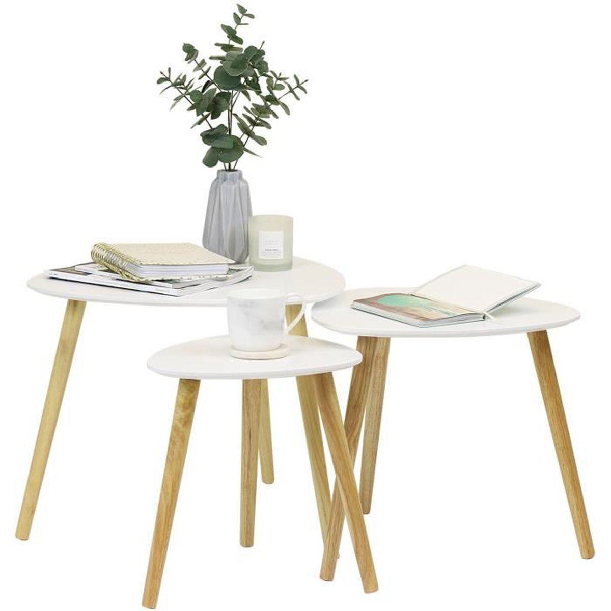 Leshp Lot De 3 Tables Basse Scandinave Decor Blanc Achat