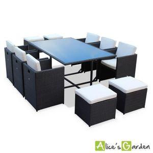 Salon de jardin Pianosa Noir table en résine tr… - Achat ...