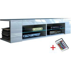 MEUBLE TV meuble tv blanc mat façade laquée  136 cm + led rg