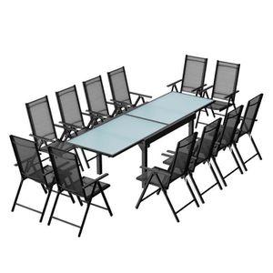 Ensemble table et chaise de jardin Breshia 12 Salon de jardin en aluminium et textilè