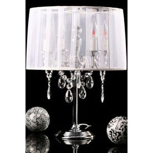 LAMPE A POSER Lampe de table en textile de couleur blanche TL000