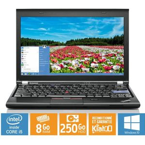 Top achat PC Portable ordinateur portable lenovo thinkpad x220 ultrabook core i5 8go ram 250 go disque dur windows 10 pc portable reconditionné pas cher