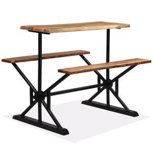 MANGE-DEBOUT Table de bar avec bancs Bois massif d'acacia 120 x