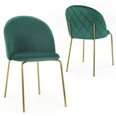 Lot de 2 chaises design en velours vert KENNETH Achat