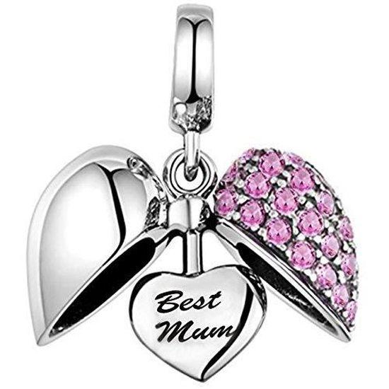 Femmes La meilleure maman breloque coeur perle cristal - Argent ...