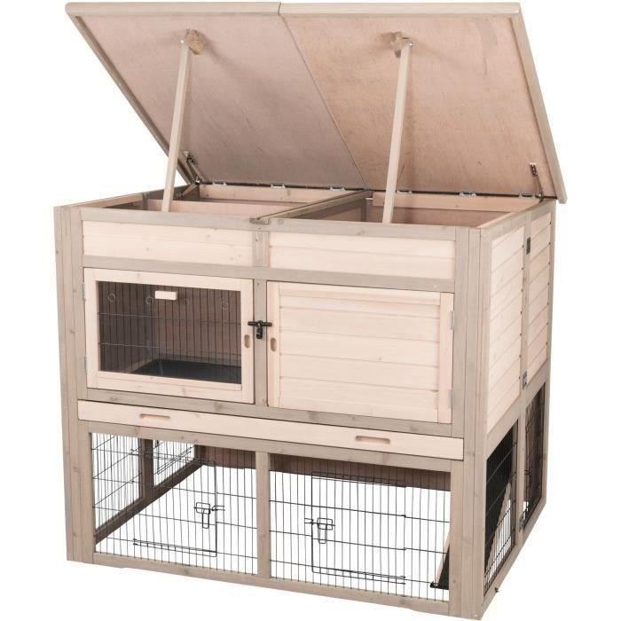 TRIXIE Clapier avec isolation Natural - XL - 120 x 98 x 94 cm - Gris - Pour rongeur et lapin