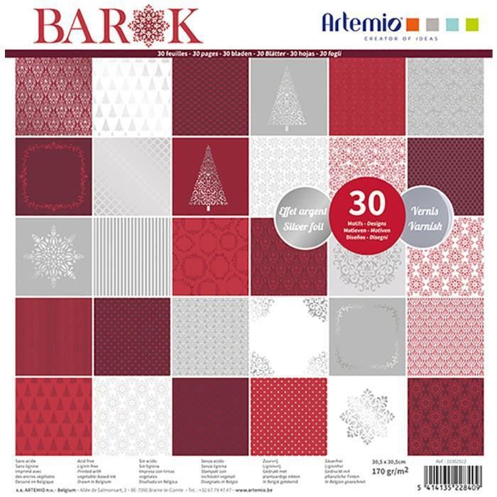 Bloc de 30 feuilles de papier scrapbooking 30x30 cm 'Barok foil argent et vernis' d'Artemio