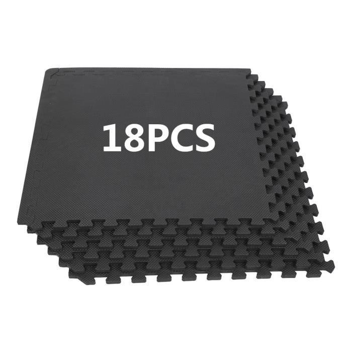 WISS Lot de 18 Pièces Tapis de Protection de Sol,Tapis de Sol Puzzle 63*63*1,2CM Noir