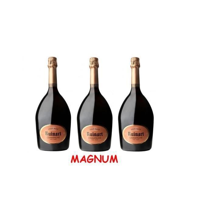 Lot de 3 Magnums de Champagne Ruinart Brut Rosé 1,5L
