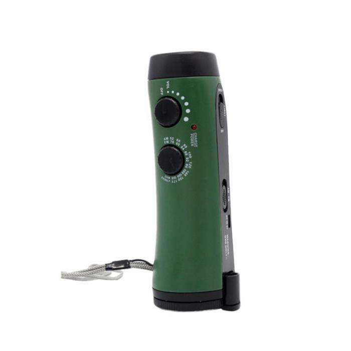1pc torche batterie externe lampe de poche FM Radio multifonction main de pour randonnée chasse en RADIO CD - RADIO CASSETTE - FM