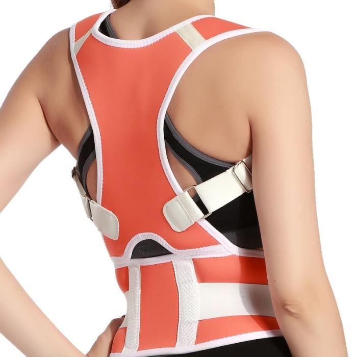 CEINTURE LOMBAIRE,Chaude hommes femmes adulte dos soutien bretelles réglable dos thérapie épaule magnétique Posture - Type Orange-S