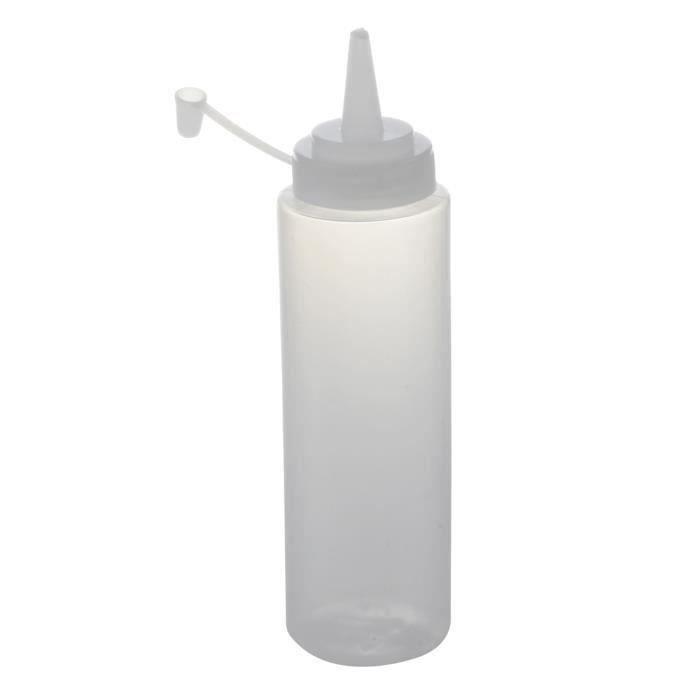 SODIAL(R)Flacon souple en plastique Distributeur de condiments Sauce a la moutarde et ketchup clair blanc 13oz Bo24779