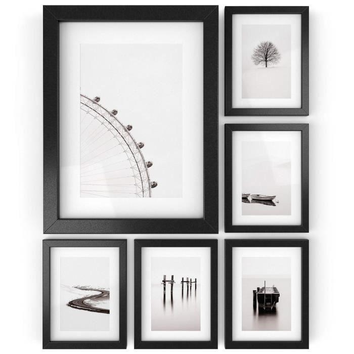 ARTEZA® Cadres Photo 15.2 cm x 20.3 cm ou 10.2 cm x 15.2 cm Pack de 6 avec Un Fond Blanc - Cadre Finition Bois - Façade en Verre