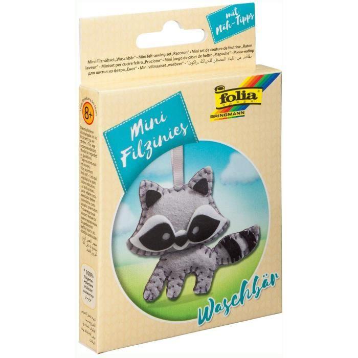 Kits de loisirs créatifs Folia 52908 Kit de Couture en Feutre pour Enfant Mini Feutrine Pendentif Ourson Laveur Multicol 54045