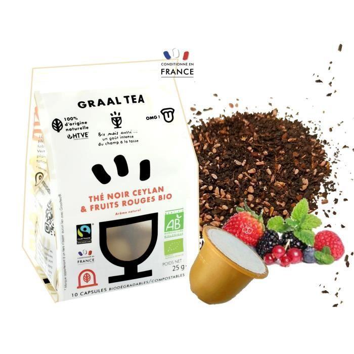 GRAALTEA - Thé Dégustation - Thé noir Ceylan & Fruits Rouges BIO en Capsule - 100% d'Origine Naturelle - Made in France - 1 Paquet x