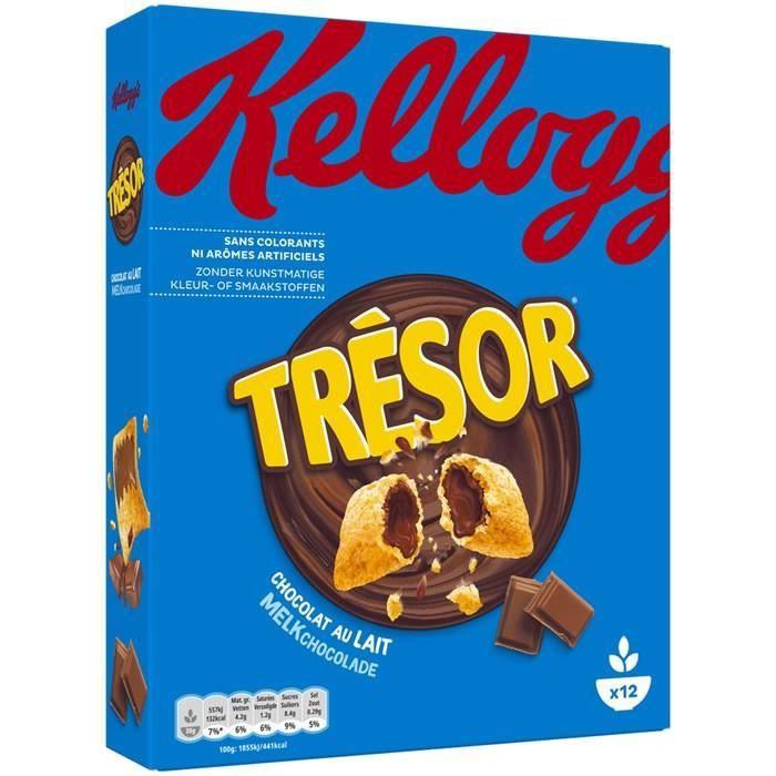 LOT DE 2 - KELLOGG'S TRESOR : Céréales fourrées au chocolat au lait 375 g