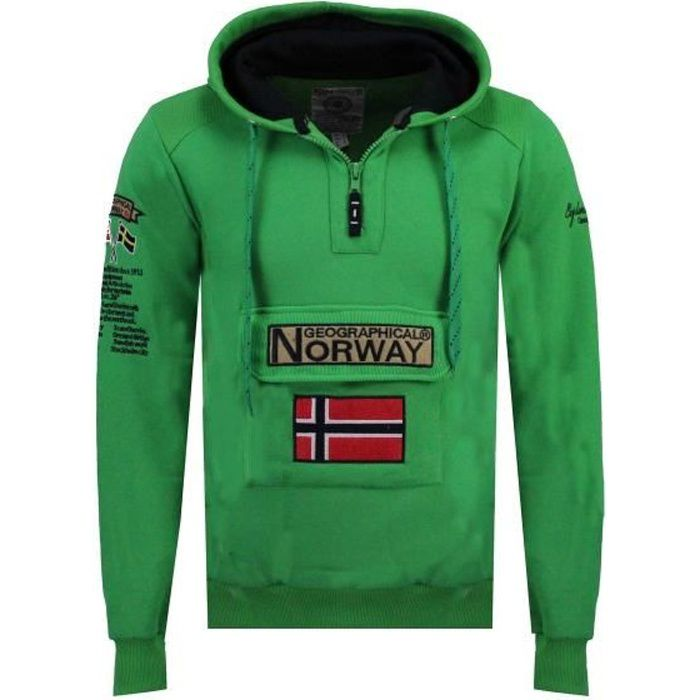 Sweat Homme Geographical Norway Gymclass Color Fluo Vert