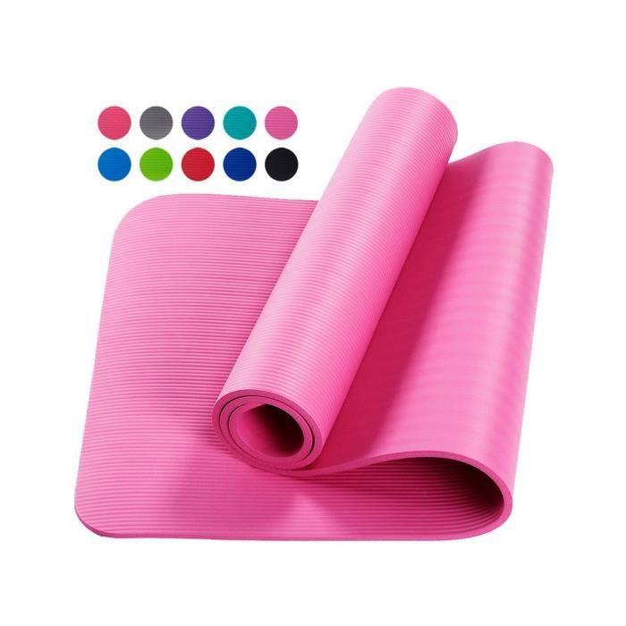 Tapis d'exercice Fitness Tapis de Yoga 183 x 60 x 1,5 cm en Mousse NBR rose