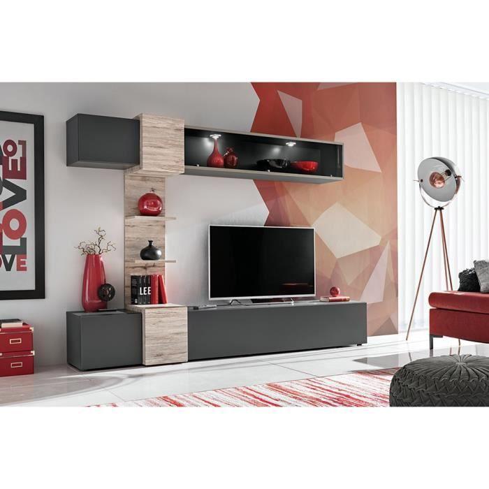 Ensemble salon HONOR. Composition TV murale coloris Gris Anthracite et bois. LED incluses. 230