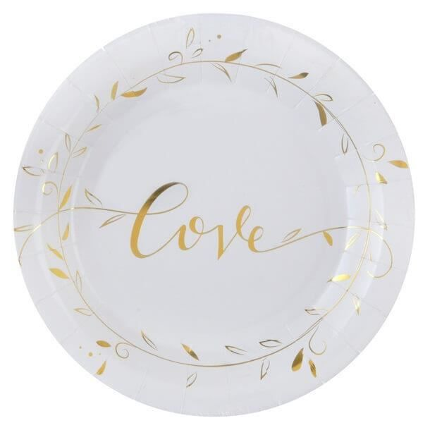 Assiette mariage LOVE blanche et dorée métallisée (x10) R/6322 Matière carton