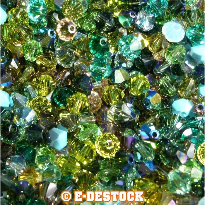 50 Perles Swarovski® Toupies 4mm MULTICOLORE FORET