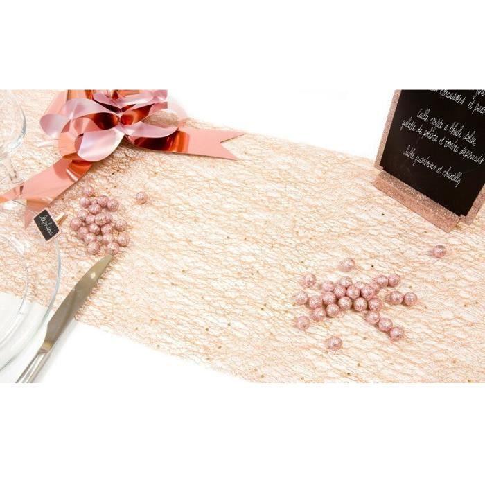 1 Rouleau chemin de table glitter (paillettes) rose gold en tulle 28cm x5m R/TUN215