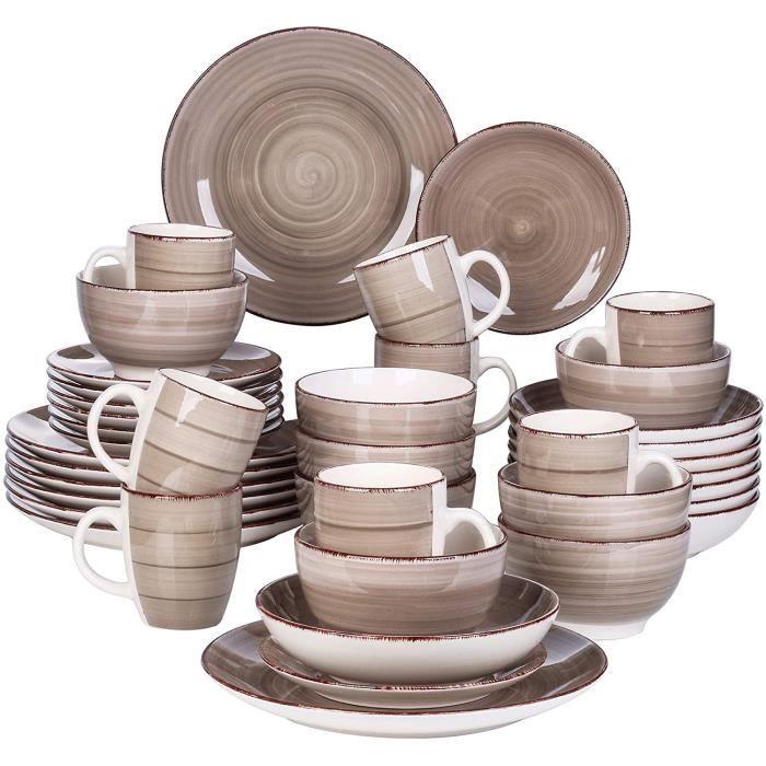 vancasso, Série Bella, Service de Table en Porcelaine,Faïence Style Vintage Rustique,Motif Cercle Arbre-Gris -40pcs