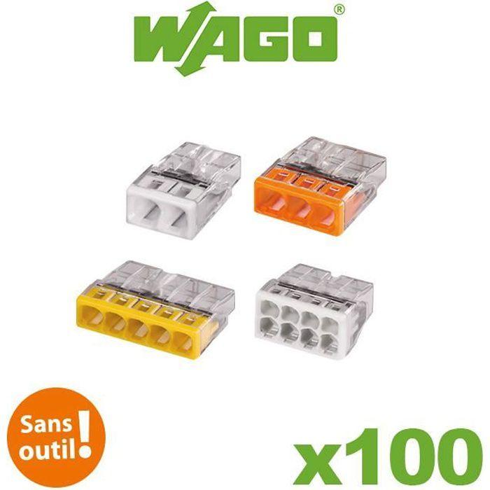 Flacon de 100 mini bornes 2. 3. 5 et 8 fils S2273 WAGO