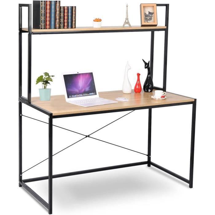 WOLTU Bureau d'ordinateur avec étagère,Table de bureau en acier et bois, 120x60x140cm,14.6kg,Noir+chêne clair