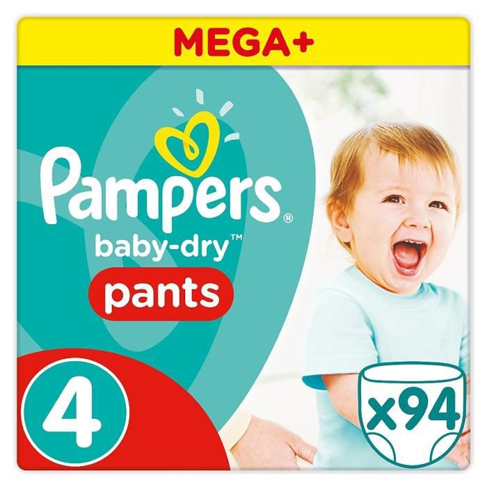 PAMPERS Couches Baby Dry Pants Maxi - Taille 4 - Mega Plus Pack - x 94