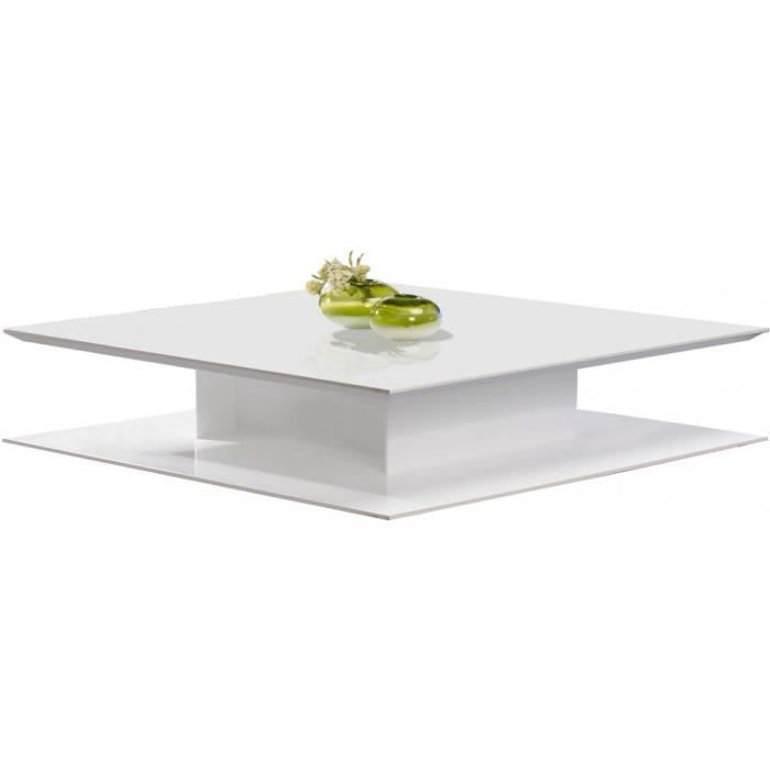 Table basse design carr e laque blanc brillant achat - Table basse carree blanc laque ...